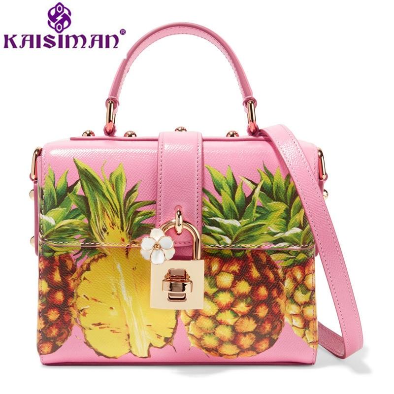 2018luxury Brand Lady Handbags Cute Pineapple Bag Famous Designer Fruit Pattern Women Messenger Bags Genuine Cow Leather Box Bag мужские сумки
