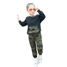 Boys Girls Clothes Camouflage Long-sleeved Jacket T-shirt Pants Two-piece 2-6 Y Children Quality Roupas Infantis 2019 Hot Sale