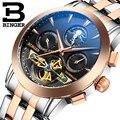 Genuine Swiss BINGER Brand Men full steel automatic mechanical male self-wind double openwork fashion Tourbillon watch
