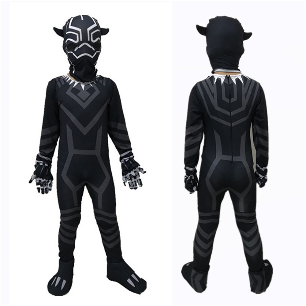 Cosplay children lycra heroine black panther hero jumpsuits costume halloween carnival costume bodysuit for kids