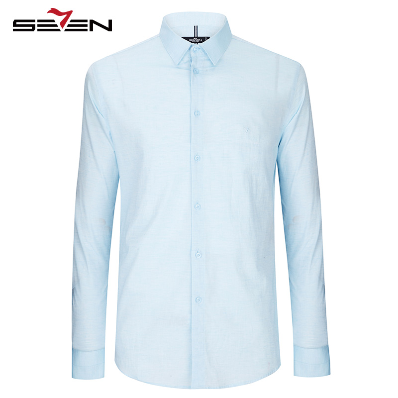 Seven7 Vintage Dress Shirts Men Casual Long Sleeve Cotton Imported Formal Tuxedo Shirt Male Pink Blue White Slim Fit 112A30220
