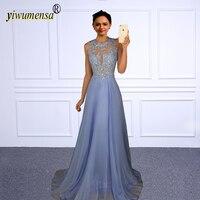 A190 Sexy O Neck Beaded A Line Chiffon Prom Dress Appliques Light Blue Prom Dresses 2018