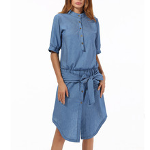 141d3897943e Women Summer Dress Denim Ladies Bow Casual Short Sleevel Dress Evening  Party Dress Women Knee-