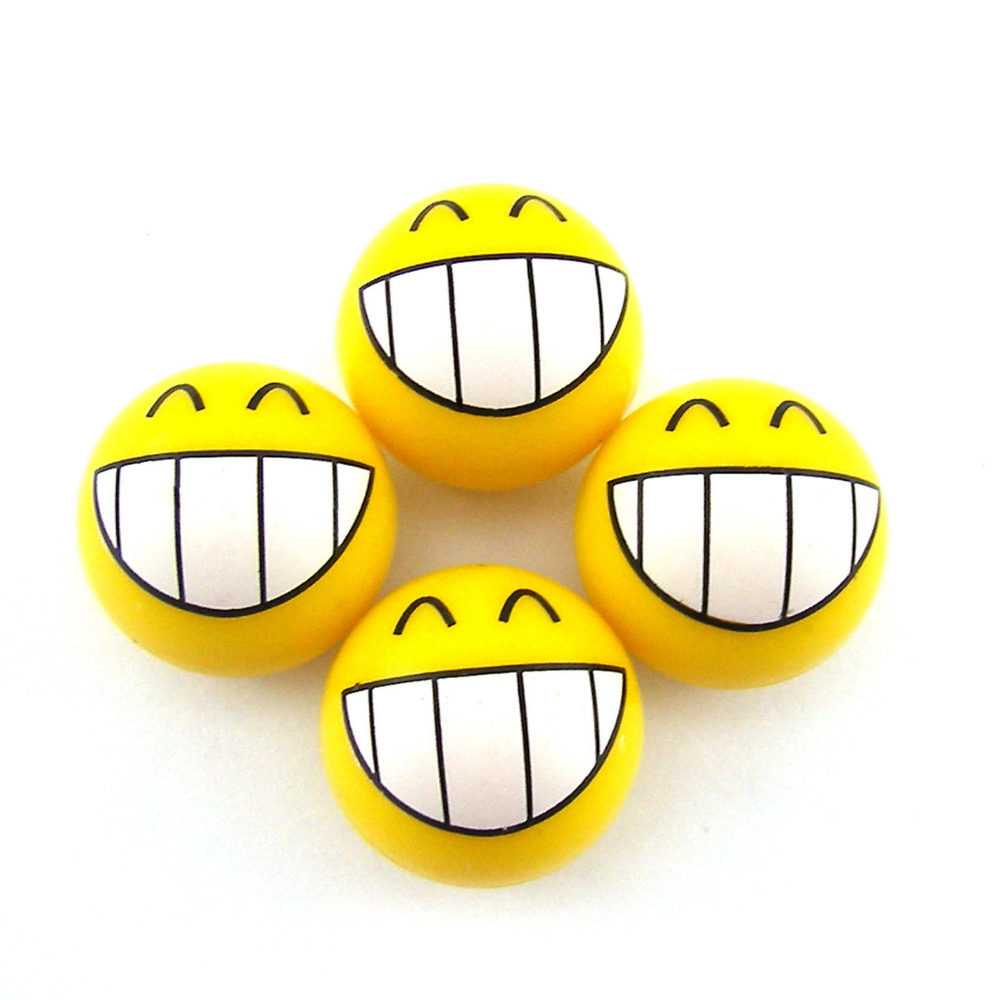 BBQ@FUKA Wheel Valve Stem Caps Smile Happy Expression Grinned Smile Face Wheel Dust Cover Kits Fit For bmw vw toyota Universal