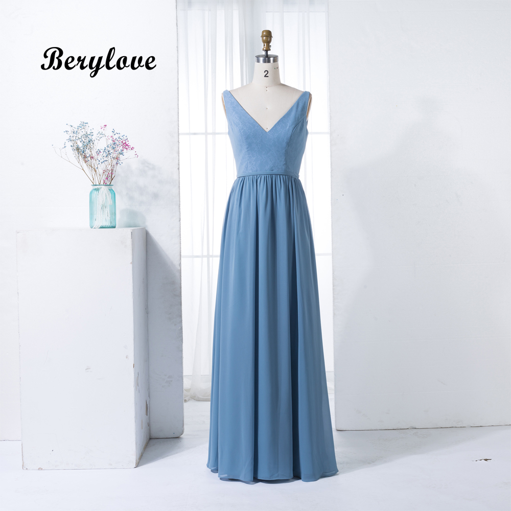 BeryLove Simple Dirty Blue   Bridesmaid     Dresses   2018 Long V Neck Lace   Bridesmaid   Gowns Cheap Beach Wedding   Bridesmaid   Party   Dress