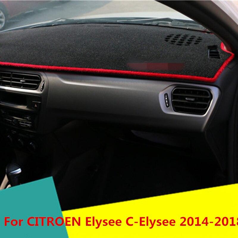 Dashboard Cover Mat Pad Sun Shade Avoid Light Dash Board Carpet Protector Auto Accessories For CITROEN Elysee C-Elysee 2014-2018