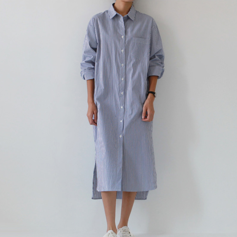 Plus Size Summer Dress 2019 women casual loose robe Turn-down Collar Long sleeve Classic blue stripes shirt dress