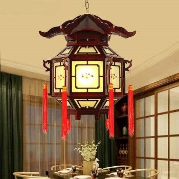 Китайский отель деревянный кулон ligh Ресторан Античный водонепроницаемый деревянный балкон коридор шесть подвесные фонари лампы ZA1130120