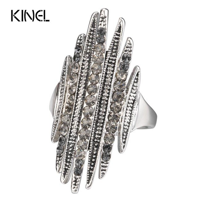 Kinel Hot Unique Gray Crystal Rings For Women Antique Silver Color Punk Rock Rin