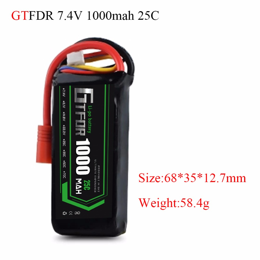 GTFDR 7.4V <font><b>1000mAh</b></font> <font><b>2S</b></font> 25C <font><b>Lipo</b></font> Battery Rechargeable Battery Pack JST Plug T Pluy for RC Car Truck Truggy RC Hobby image
