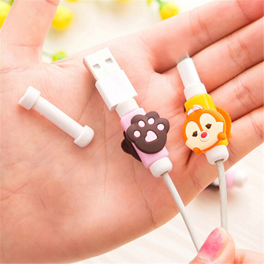 2 Sets/lot Cartoon Paw Charger Cable Protector Kawaii Stationary Office Usb Cable Organizer Winder Wire Holder Desk Accessories