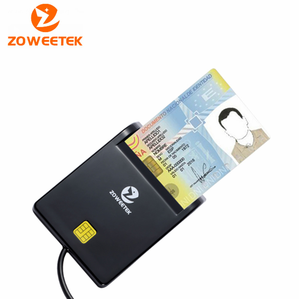 Zoweetek 12026-1 Easy Comm EMV USB Smart Card Reader CAC Common Access Card Reader Adapter ISO 7816 For SIM / ATM / IC/ID Cards
