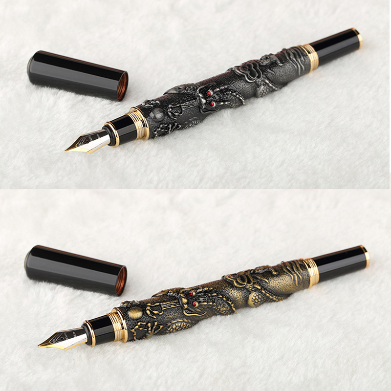 High Quality NOBLE GOLDEN Fountain pen ink pen nib DRAGON EMBOSSED luxury Stylo plume Caneta Stationery Penna stilografica 03842 high quality stylo plume vintage iraurita fountain pen ink pen nib calligraphy penna stilografica stationery caneta vulpen 03832