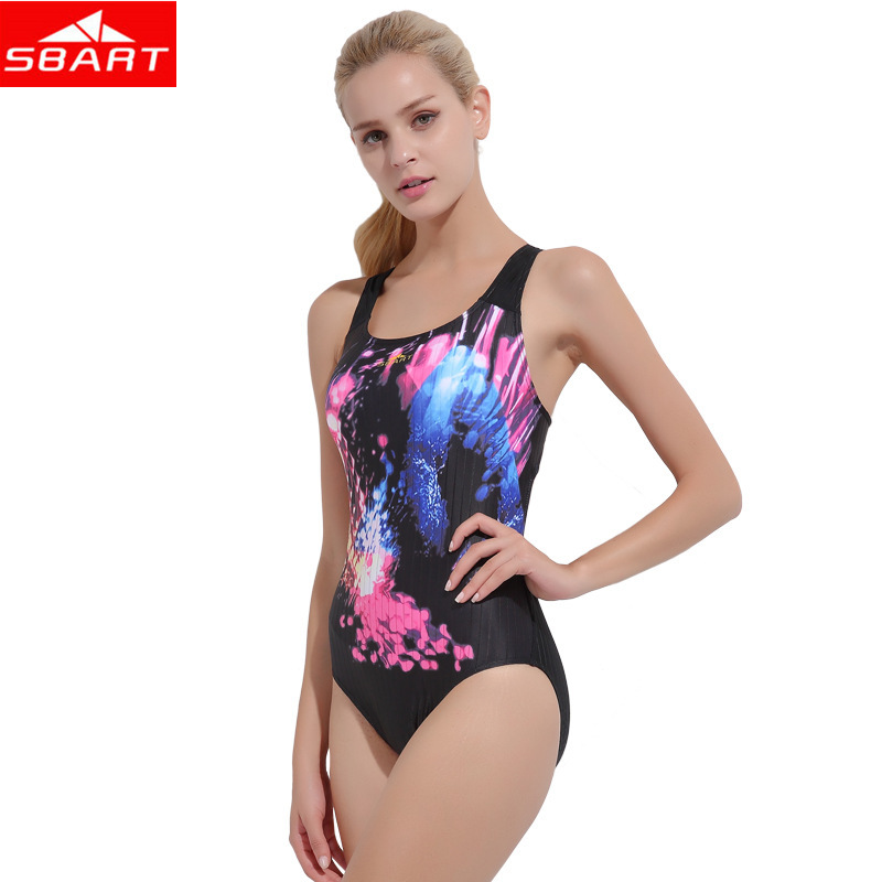SBART Ladies One-Piece Swimsuits Removable Padding Wire Free Surfing Swimming One-Piece Suits for Women Beach Sport Swimwear 2XL sbart shirts pants bra long sleeve lycra surf shirt wetsuit ladies rash guard set swim rashguard swimming suits for women n57