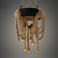 Промышленные Ретро Лофт пеньковая веревка шин люстра подвесной светильник Эдисон лампа осветительное оборудование для дома кафе бар украш