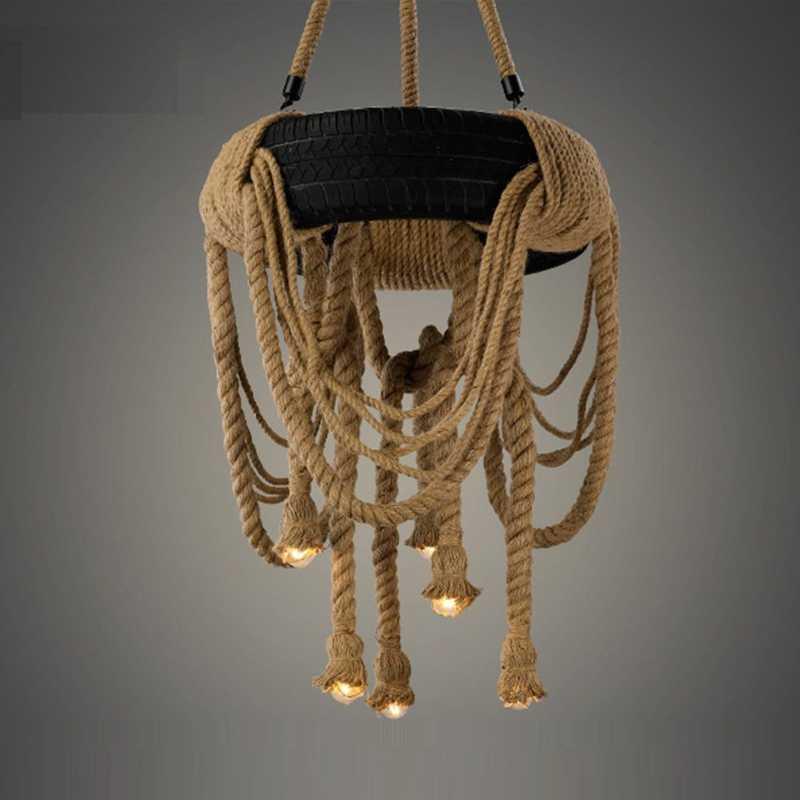 Промышленные Ретро Лофт пеньковая веревка люстра из шин подвесной светильник Эдисона освещение приспособление для дома украшения для кафе бара