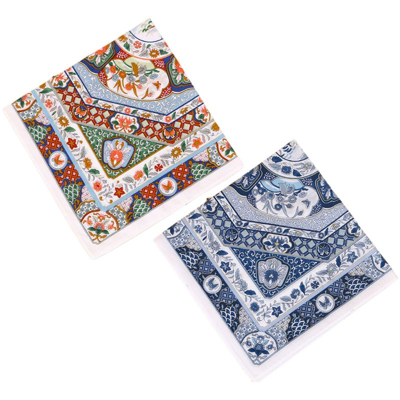 45x45cm Women Couples 60s Cotton Square Handkerchief Colored Porcelain Floral Printing Pocket Hankies Wedding Party Napkin Gifts