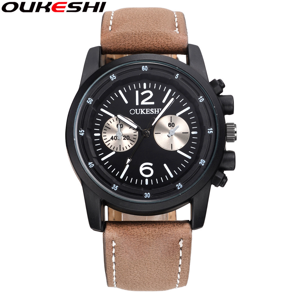 2017 OUKESHI Brand Sport Watches Men Waterproof Leather Band Quartz Wrist Wristwatch Military Clock Male Relogio Masculino OKS03 ccq brand fashion men leather quartz watches casual business sport male clock waterproof military wrist watch relogio masculino