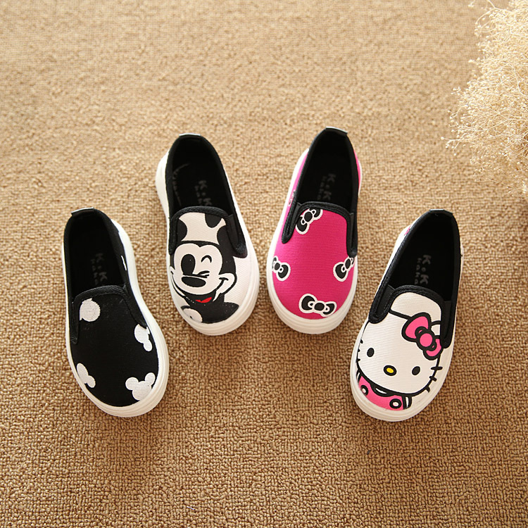 Children shoes 2016 Autumn Cartoon Cute child sneakers hello kitty Cat AB Canvas Kids shoes for Boys,Girls Size 21-36