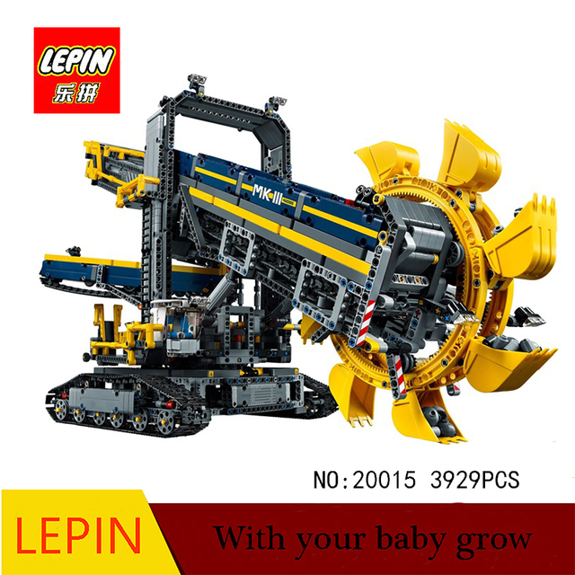 DHL lepin 20015 3929Pcs Lepin Technic Bucket Wheel Excavator Model Building assemble Blocks Brick Toy Compatible legoed 42055