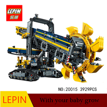 DHL lepin 20015 3929Pcs Lepin Technic Bucket Wheel Excavator Model Building assemble Blocks Brick font b