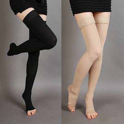 Unisex de la rodilla medias médicas de compresión de las venas varicosas abierto del dedo del pie medias