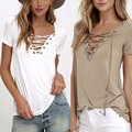 2016 Summer European Fashion Lace Up T Shirt Women Sexy V Neck Hollow Out Top Casual Basic Female T-shirt Plus Size 5XL