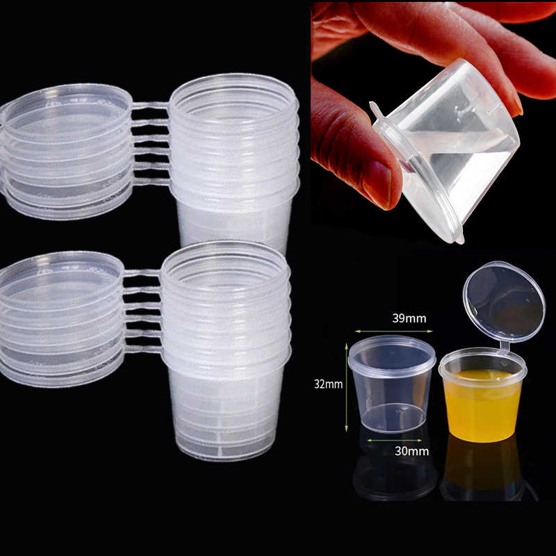 50PCS 25ml Small Plastic Sauce Cups Food Storage Containers Clear Boxes+Lids  Clear Plastic Cups Takeaway Sauce box