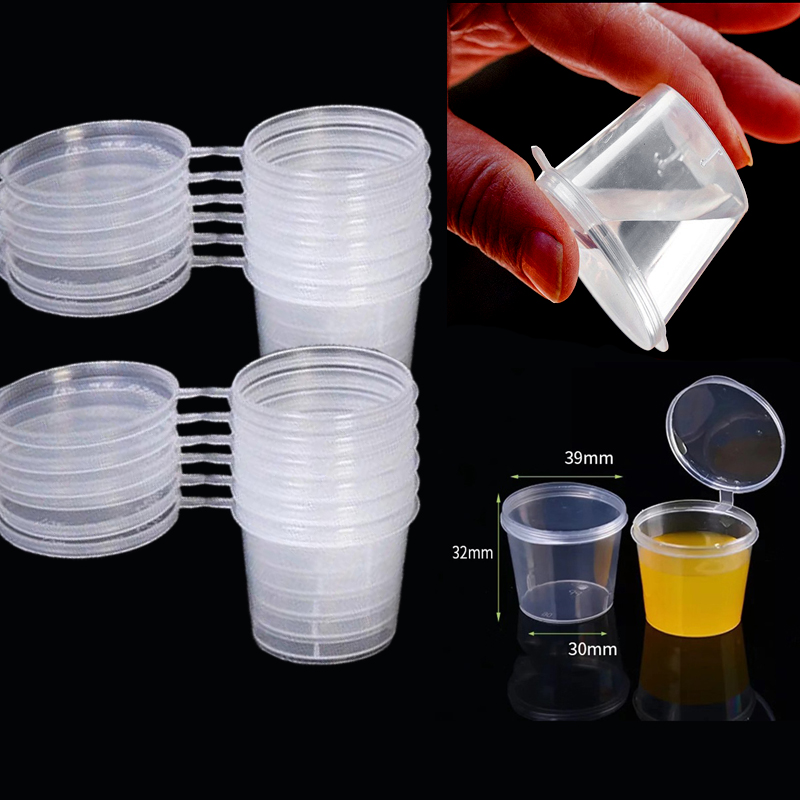 50PCS <font><b>25ml</b></font> Small Plastic Sauce Cups Food Storage <font><b>Containers</b></font> Clear Boxes+Lids Clear Plastic Cups Takeaway Sauce box image
