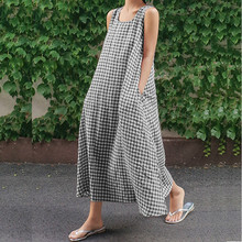 Summer Sleeveless Loose Plaid Dress Women Casual Pockets Long Elegant Dress Plus Size 2018 winter elegant dress loose maternity dress casual pregnancy dress dot plus size dress ruffles pockets