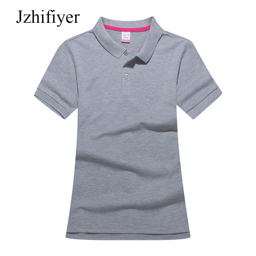 Jzhifiyer polos mujer polo camisa de algodão 190G sólida fino turn down  pescoço camisas manga curta 3975c604f05a1