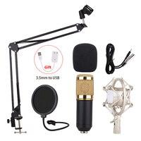 Professional BM 800 Studio Microphone For Computer Pop Filter Desktop Microphones with Metal Stand Holder Shock Stand