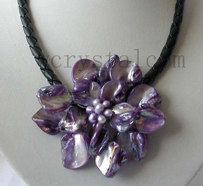 real cultured Pearl purple Shell Flower Necklace Leather Cluster 18' Jewelry AAA style Fine Noble real Natural free shipping