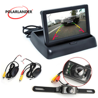 Foldable HD TFT Auto 4.3 Inch Mirror Monitor Optional Backup Rearview Camera For Vehicle LCD Parking Assistance
