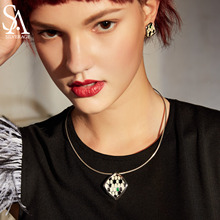 SA SILVERAGE 925 Sterling Silver Choker Necklace Snake Shape Pendant Woman Chokers Necklaces New Arrival
