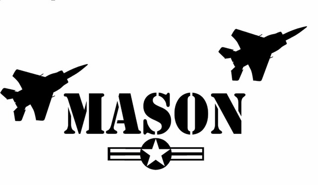 Custom made personalized fighter jets army name removable vinyl wall sticker boys bedroom decor