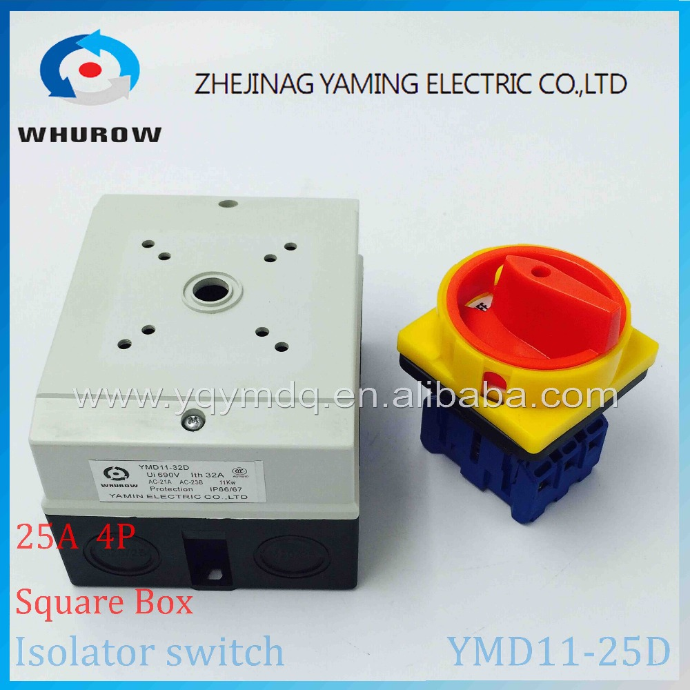 Isolator switch YMD11-25D 4P 690V with protective box waterproof load break rotary changeover switch air-conditoning pump system 660v ui 10a ith 8 terminals rotary cam universal changeover combination switch