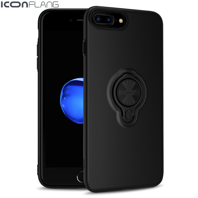ICONFLANG Case for iPhone 7 7 Plus Car Holder Stand Magnetic Suction Bracket Finger Ring Hard PC Cover for iPhone7 7Plus
