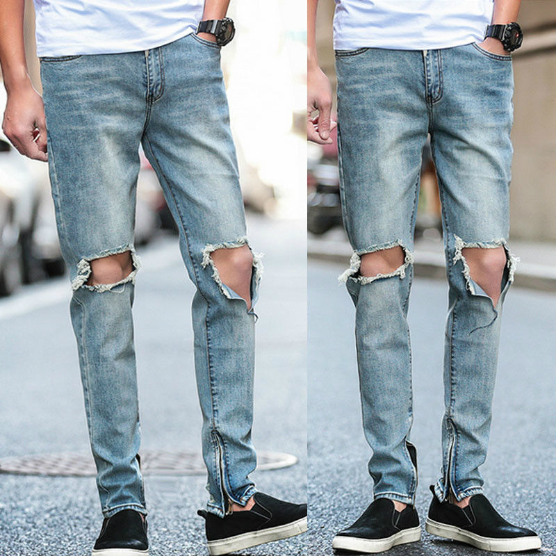 53929fb681d CANIS New Hot Fashion Men Light Blue Holes Ripped Distressed Jeans Slim Fit  Denim Zippers Pencil Pants-in Skinny Pants from Men's Clothing on  Aliexpress.com ...