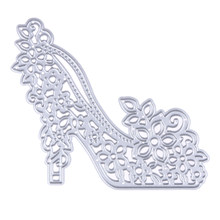 High Heels Metal Cutting Die Stencils Embossing DIY Scrapbooking Decor Craft Template Folder Flower Heeled Shoe