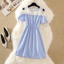 Летнее платье-рубашка с коротким рукавом, с открытыми плечами, в клетку, синее, женская одежда для работы, мини-платье, Офисная сетчатая туника, женская одежда, S-2XL, E151