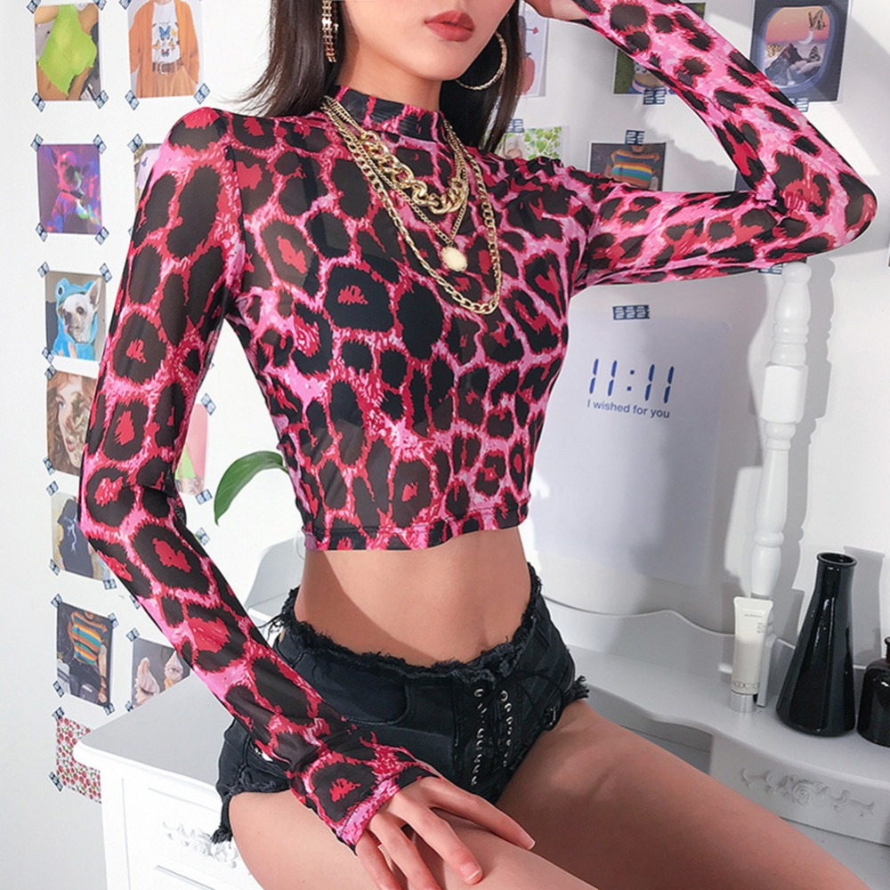Women Sexy Pink Leopard T-shirt Female Long Sleeve Mesh Tshirt Spring Autumn Tight Bottom Coat Mesh Crop Summer Top Slim Fit Tee
