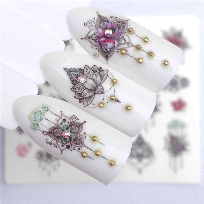 FWC NOVOS Designs Lavender/Flor/Flamingo Nobre Colar Projetos Para Tatuagem Decorações Da Arte Do Prego Marca D' Água