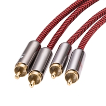 Quality 1Meter 2 RCA to High Fidelity Stereo Audio Cable Double Shielding Male Free Shipping