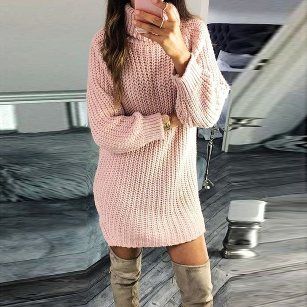 CALOFE New Autumn Sweater Women Pullover Turtleneck Solid Color Sweater Slim Fashion Knitted Sweater Winter Women Long Sweater