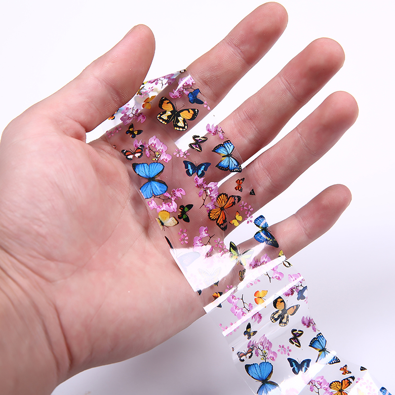 Nail Art Transfer Foils Nail Sticker Tip Decal Decoration Design DIY Butterfly Plum Flower Manicure Tools