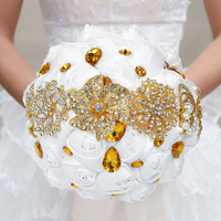 18CM Artificial Wedding Bouquet Handmade Flower Diamond Rose Flower Bridesmaid Bouquet Rhinestone Artificial Pearls for Bride
