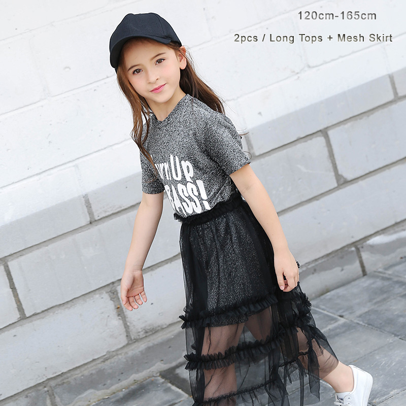 Makeup Clothes for Teen Girls 2 pieces set Long Shining T-shirt for Girl +Kids Mess Dress in 2pcs clothes for girls 12 years old girl
