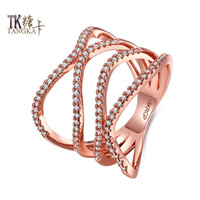 TANGKA Italy Carved Double Wallet Shape Wedding Ring Lady Rose Gold Romantic Engagement Ring Female Holiday