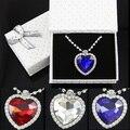 OCESRIO Romántico Corazón Titánico del Collar del Océano para Las Mujeres Regalos de Cumpleaños de Plata de Largo Collar de Cristal Colgante gfs-a01